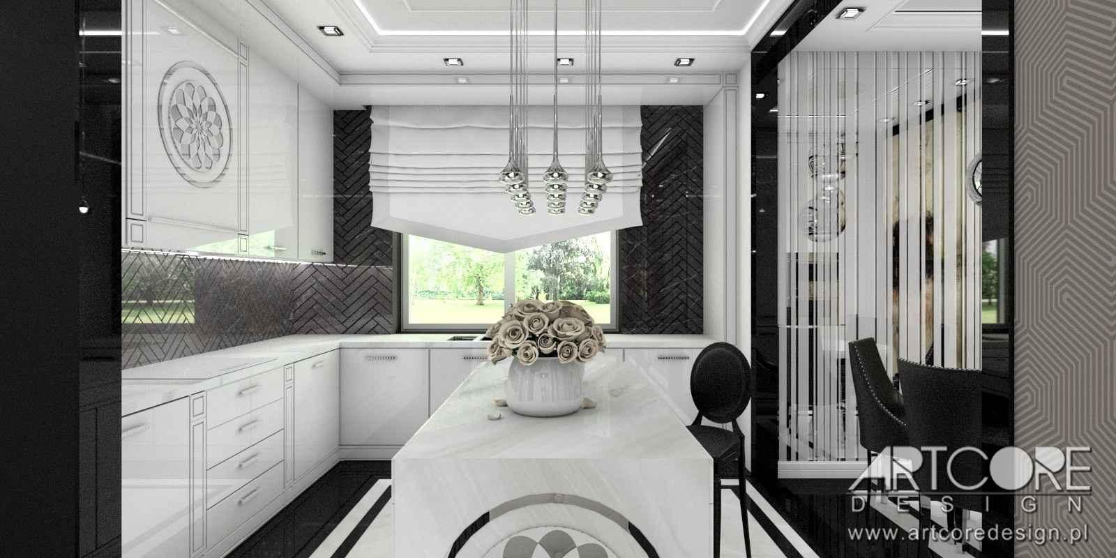 projektant wnętrz warszawa czarno biała kuchnia