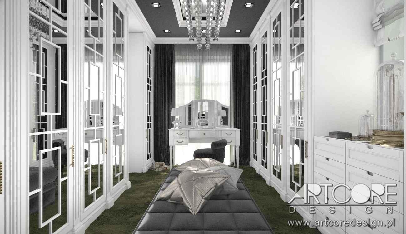 wnętrze luksusowej garderoby w warszawie