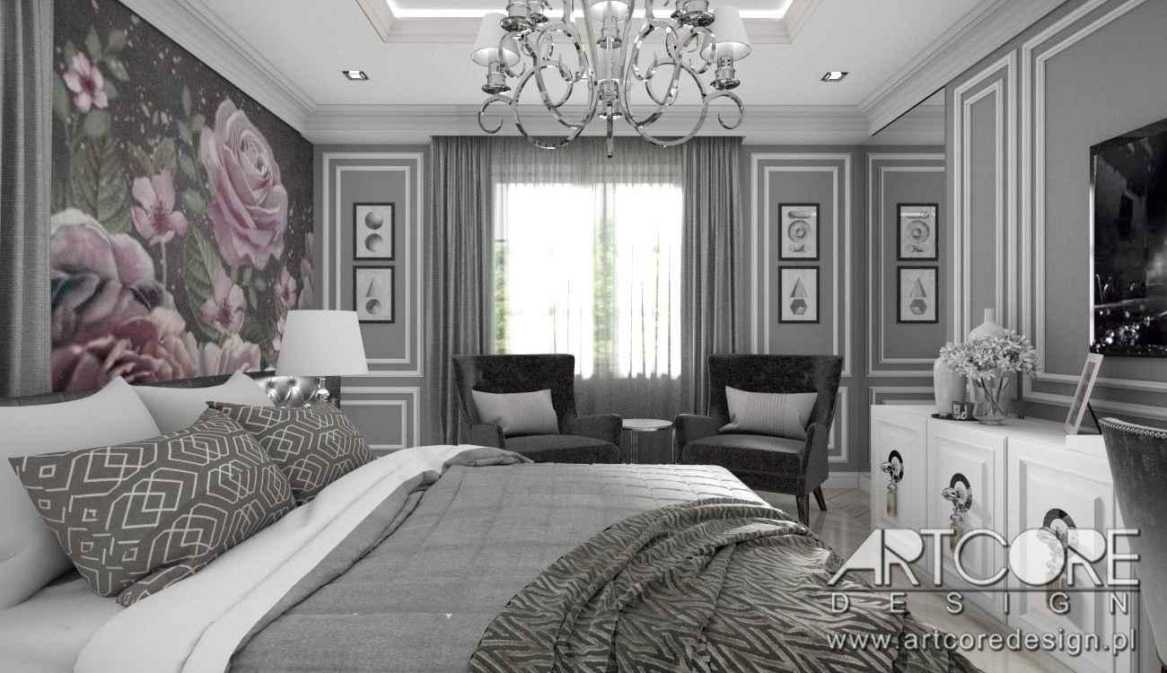 projektowanie wnętrz warszawa sypialnia z fototapetą