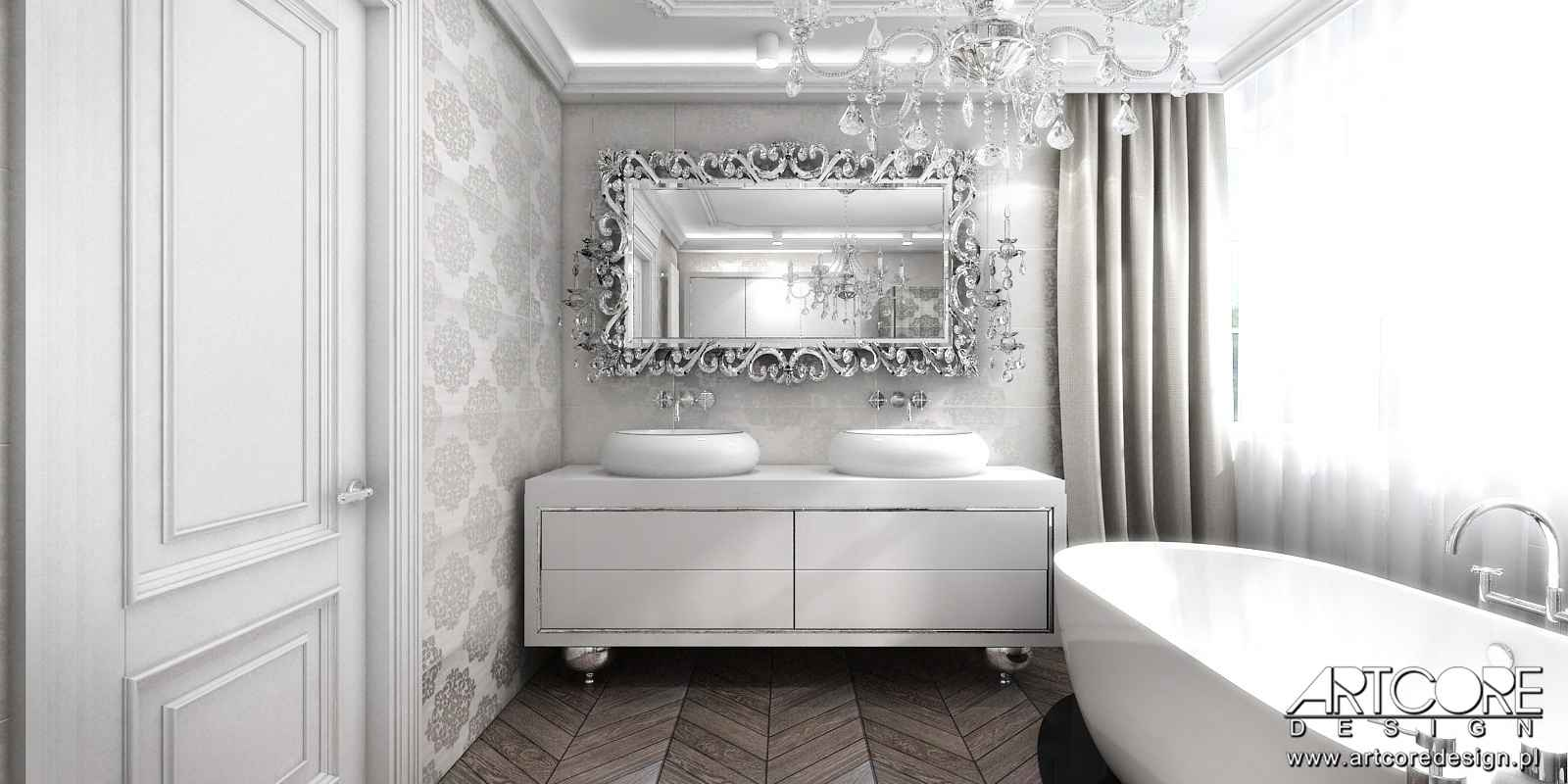 wystroj projektowanego wnętrza klasycznej łazienki w warszawie