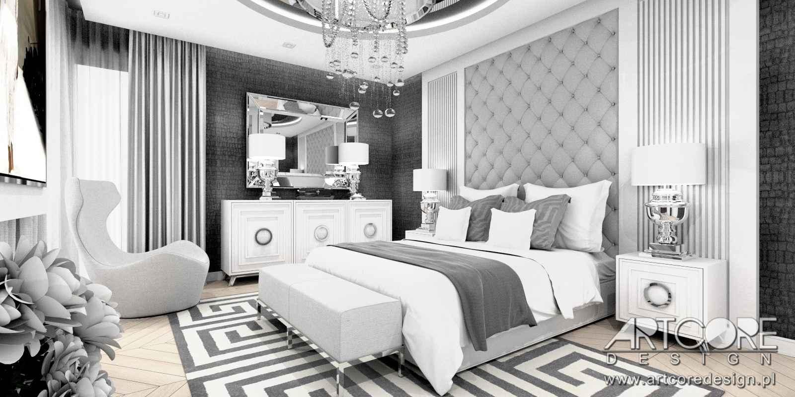 projekt wnętrza domu luksusowa sypialnia glamour w warszawie